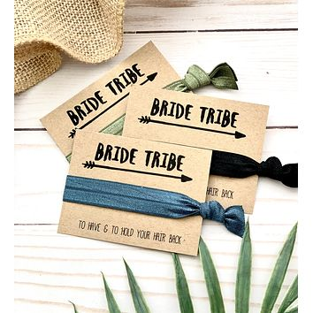 Bride Tribe Bachelorette Hair Tie Favors, YOU Choose your hair ties, Bridesmaid gift