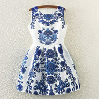 Porcelain Print Sleeveless Pleated Dress