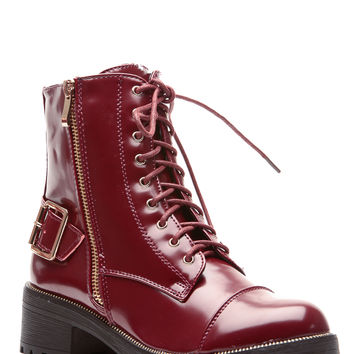 Wine Faux Leather Lace Up Lug Sole Ankle Boots