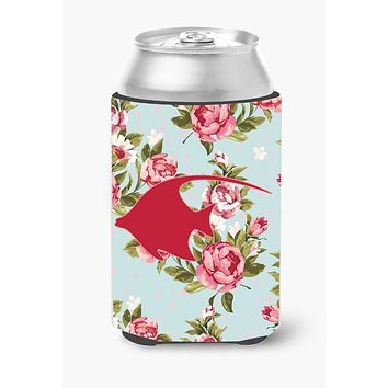 Fish - Angel Fish Shabby Chic Blue Roses Can or Bottle Beverage Insulator Hugger BB1019