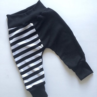 Baby Harem Pants - Baby Harem Shorts - Baby Leggings -Toddler Harem Pants Black White Stripe Two-toned Striped. Trendy, Hipster Baby Gift