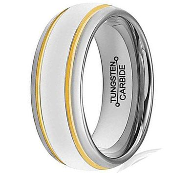 CERTIFIED 8mm Tungsten Carbide Ring Simple Style Gold Plated Unisex Wedding Engagement Band