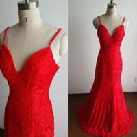 Memorial day Sale Spaghetti Straps Red Mermaid Prom Dress-Lace Prom Dress-Formal Dresses Long-Mermaid Lace Evening Dress-Red Party Dresses