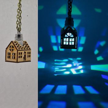 Das Haus Pendant Necklace in Cherry Wood