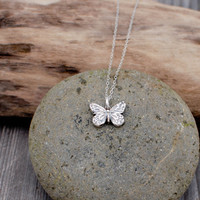 OOAK Fine Silver Pendant - 3D Butterfly - Transformation Playfulness and Joy - Ready To Ship