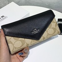 COACH New fashion pattern leather envelope wallet purse women