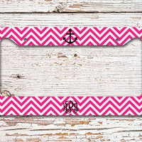 Anchor license plate or frame with monogram - Hot pink chevron nautical anchor - monogrammed vanity car tag bike accessory license (1027)