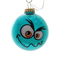 Holiday Ornaments MONSTER FACES BALL ORNAMENT Glass Halloween 710002A Blue