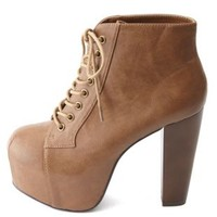 Lace-Up Wooden Heel Platform Booties by Charlotte Russe - Tan