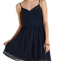 Navy Strappy Lace Skater Dress by Charlotte Russe