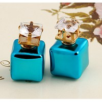 Stylish square colorful candy color earrings double-sided size pearl earrings