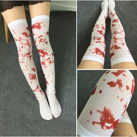 1Pair Over The Knee Socks Fake Red Blood Stained Bloody Halloween Costume
