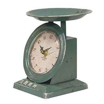 Vintage Blue Old Town Scale Clock