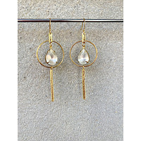Vintage Frosted Glass Hoops