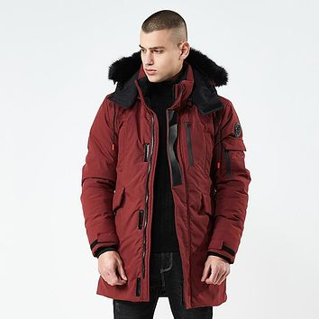 Winter Jacket Men Long Fur Collar Hooded Parka for Men Thick Warm Army Military Tactical Windproof Outerwear Sports Coat