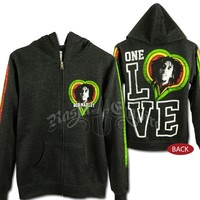 Bob Marley One Love Smile Charcoal Grey Zip Hoodie @ RastaEmpire.com