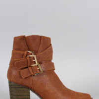 Women's Qupid Distressed Triple Buckle Pointy Toe Heeled Western Booties