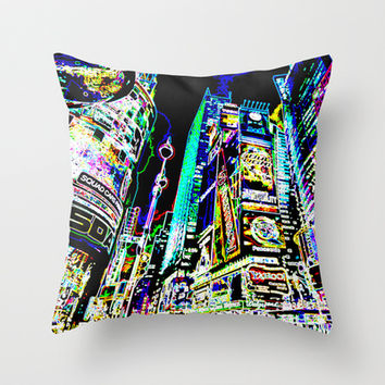 Neon New York City Throw Pillow by LGD.