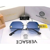 Versace 2019 new personality frameless women's gradient trimming color film polarized sunglasses #2