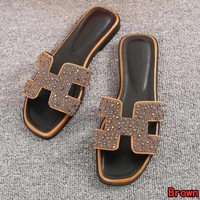 Hermes Summer Hot Sale Women Casual Leather Diamond Slipper Sandals Shoes Brown