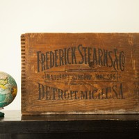 Art Deco Antique Frederick Stearns Apothecary Pharmacy Medical Wooden Crate