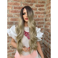 Ash Blonde Balayage Hair with Brown Ombré Roots 419