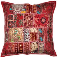 24 x 24 Throw Pillow Embroidered Indian Decorative Cushion Cover Throw Soft Furnishing 24X24 wholesale vintage indian decorative throw pilow