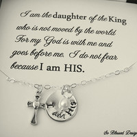 Christian Hand stamped necklace, I am HIS, Christian jewelry, Cross and pearl necklace, Inspirational jewelry, Message card included