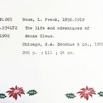 Santa Christmas card, book inspired holiday card, L Frank Baum, simple Christmas cards, library card catalog card, book lover Christmas card