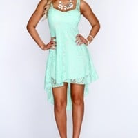 Mint Floral Lace High Low Sexy Party Dress