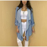 Fashion denim Long-sleeved cardigan jacke