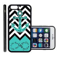 RCGrafix Brand Love Your Life Teal Glitter Anchor Apple Iphone 6 Plus Protective Cell Phone Case Cover - Fits Apple Iphone 6 Plus