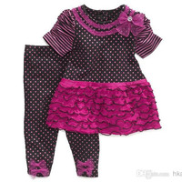Children Clothes 2014 Girls dot cake lace short-sleeved t-shirt Dress+Bow Leggings 2 pc Sets. Baby suit/ Kids Clothing