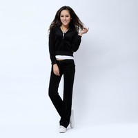 Juicy Couture Pure Color Velour Tracksuit 6047 2pcs Women Suits Black