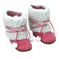 18 Inch Doll Boots, Fuchsia Ewe Boots by Sophia's, Fits 18 Inch American Girl Dolls & More! 18 Inch Doll Shoes of Faux Suede & Sherpa Fur Fuchsia Ewe Doll Boots W/Ties