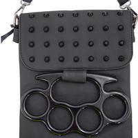 Gothic Large Brass Knuckles Black Faux Leather Crossbody Purse