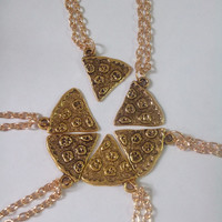 Pizza Charm Best Friend Necklace in Gold