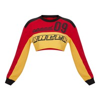 Red Racer Slogan Colourblock Extreme Cropped Sweater