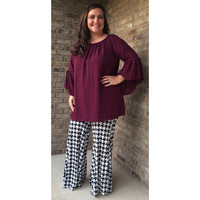 Black and White Houndstooth Palazzo Pants