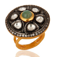 Crystal Polki Gold Plated Sterling Silver Emerald Antique Style Cocktail Ring