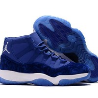 Air Jordan Retro 11 Velvet Blue Basketball Shoes Men Women 11s Royal Blue Velvet Sports Sneakers High Quality With Shoes Box