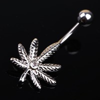 Weed Leaf Inlaid Navel Ring