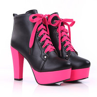 Ladies 2014 Fall Fashion Motorcycle Sexy Ankle Boots Neon Green Hot Pink Shoes Chunky Platform High Heel Club Boots For Women