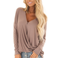 Cocoa Drop Shoulder Long Sleeve Surplice Top
