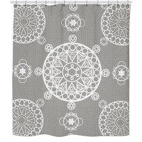 Grey patterned shower curtain👽👽👽