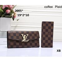 LV Loius Vuitton 2018 classic counter models women's favorite wild fashion clutch bag F-OM-NBPF Coffee Plaid