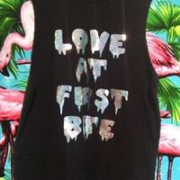 New UNISEX Silver HOLOGRAPHIC Grunge Dripping 'Love at first bite' sleeveless grunge muscle top shirt S-XL
