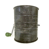 Vintage Bromwell Flour Sifter, Metal with Green Wooden Handle, Cottage Chic Kitchen, Shabby Chic Decor