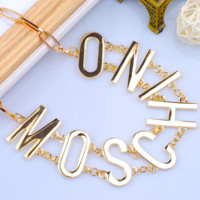 Moschino Fashion new metal letter chain women and men necklace jewelry golden