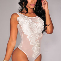 White Sleeveless Floral Embroidered Mesh Lingerie